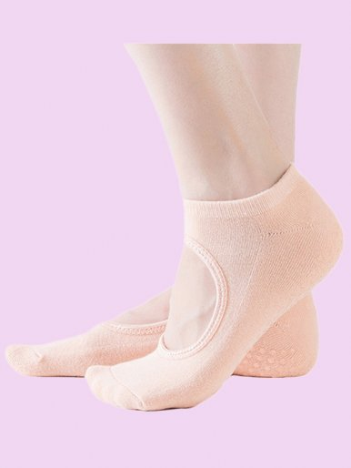Full Toe Grip Anti-Slip Yoga,Barre Cotton Socks with Cut Out Detail