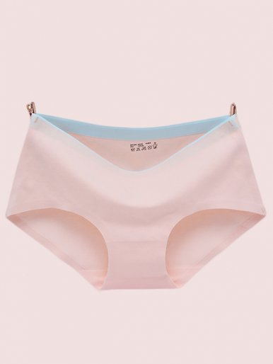 Contrast Waist Cotton Underpant Women Seamless Briefs