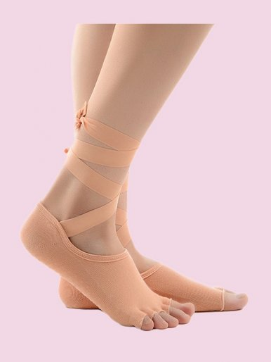 Lace-Up Half Toe Non-Slip Socks In Yoga, Ballet for Added Balance and Stability