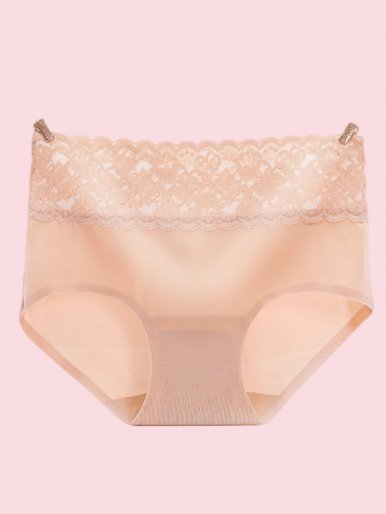 Wide Lace Waistband Smooth Seamless Brief Panty