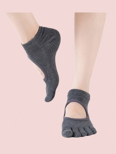 Hollow Out Instep Full Toe Socks Low Cut Antil-Slip Five Toe Cotton Sock
