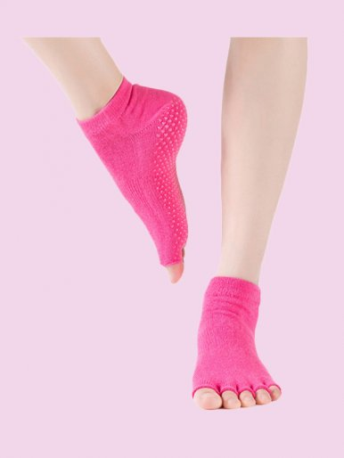 Open Toe Half Toe Grip Non-Slip Yoga,Ballet Cotton Socks