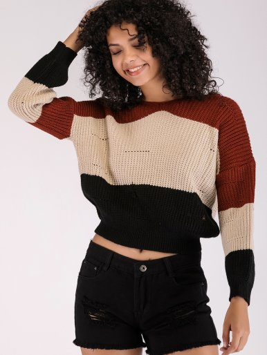 OneBling Three Tone Hooded Cropped Jumper