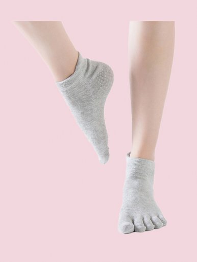 Low Cut Crew Socks Non-Slip Cotton Five Toe Socks