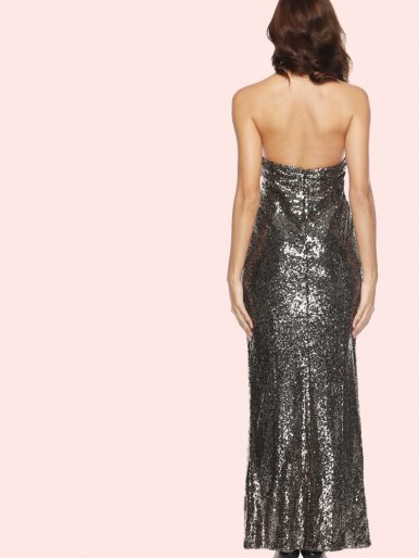 OneBling Open Back Split Side Maxi Halter Dress In Sequins