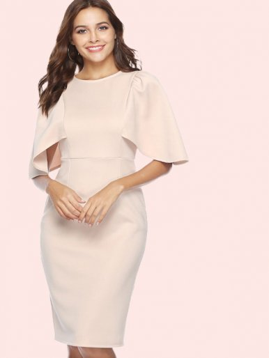 OneBling Cape Sleeve Midi Pencil Dress with Split Detail