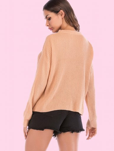 OneBling Dropped Shoulder V-Neck Choker Detail Loose Knit Jumper