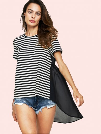 OneBling Sheer Chiffon Back Striped High Low T-Shirt