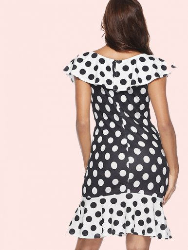 OneBling White Ruffles Hem and Collar Polka Dot Mini Dress