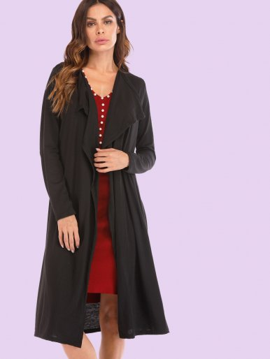 OneBling Draped Collar Long Sleeve Longline Cardigan