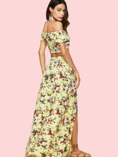 OneBling Floral Printed Crop Bardot Tops and Double Splits Skirts Sets