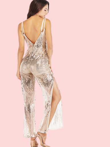 OneBling Double Straps Backless Sequins Jumpsuit with Split Wide Leg