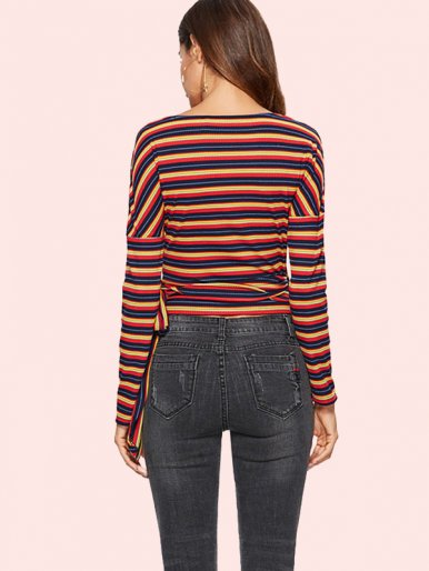OneBling Tie Side Wrap Front Contrast Striped Crop Tops