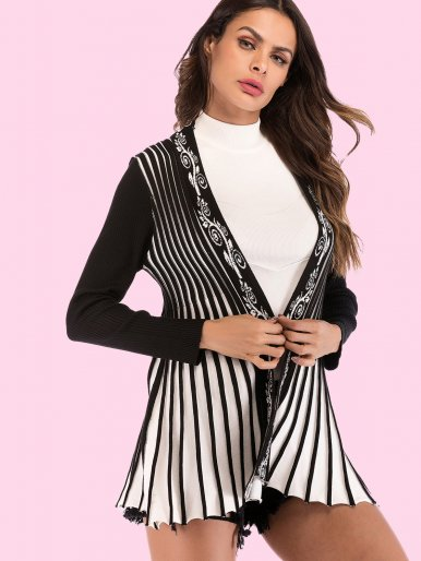 OneBling Contrast Sleeve Striped Cardigan