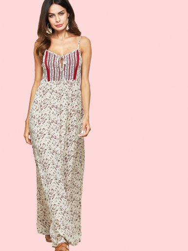 OneBling Ladder Cut Back Tie Front Striped Floral Maxi Dress