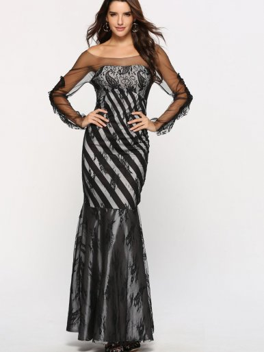 OneBling Mesh Shoulder Lace Overlay Wide Fishtail Maxi Dress