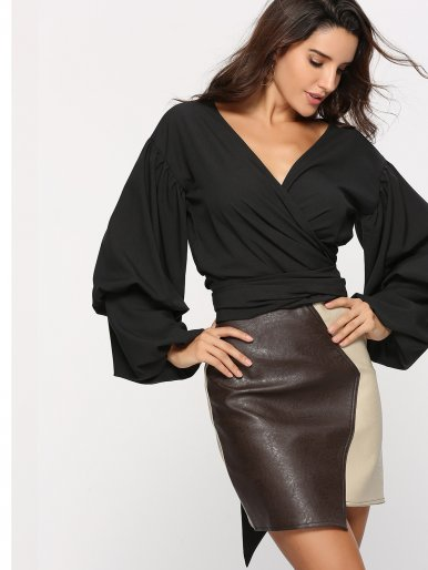 Exaggerated Gathered Sleeve Wrap Tops