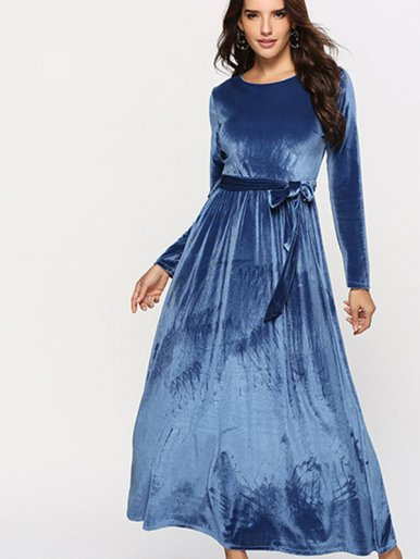 OneBling Self Bleted Long Sleeve Velour Maxi Dress
