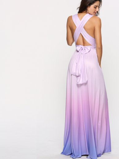 OneBling Cross Back Wrap Front Ruched Waist Maxi Dress In Ombre