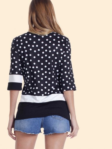 OneBling Crew Neck Spot Contrast T-Shirt with 3/4 Sleeves