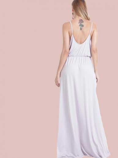 OneBling Tie Front Draped Detail Backless Maxi Cami Dress