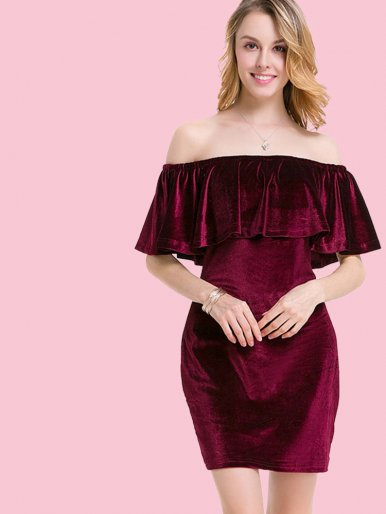 OneBling Velvet Ruffles Off Shoulder Mini Dress