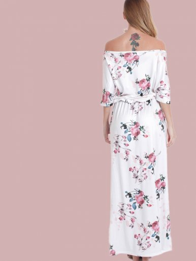 OneBling Cold Shoulder Draped Detail Double Pockets Split Side Maxi Dress In Floral Print