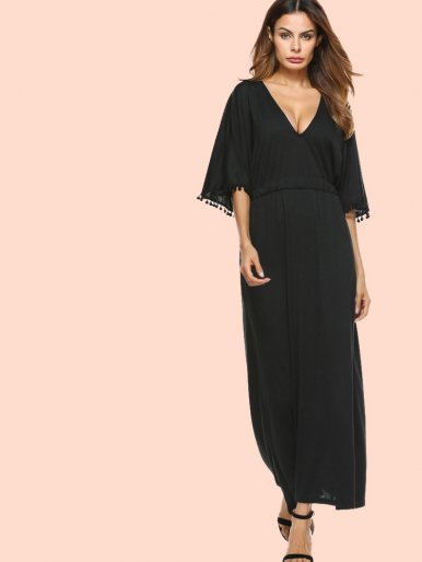 OneBling Pom Pom Trim Batwing Sleeve Plunge Maxi Dress