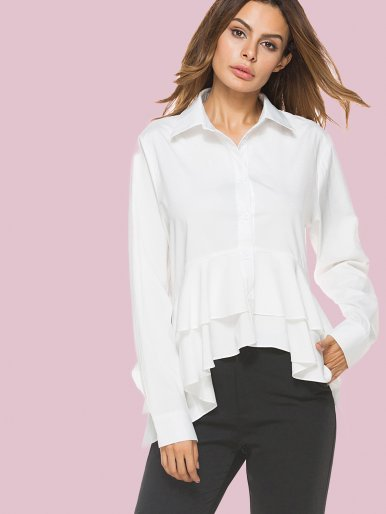 OneBling High Low Ruffles Hem Slim Fit Long Sleeve Shirts