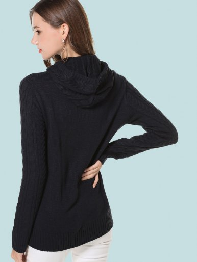 OneBling Ribbed Trim Cable Knit Hooded Sweater