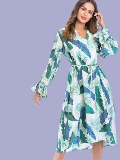 OneBling Tie Sleeve V-Neck Loose Midi Dress In Leaf Print with Frill Detail