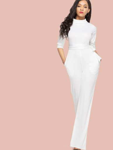 OneBling Plus Size Half Sleeve Mock Neck Tie Waist Jumpsuit