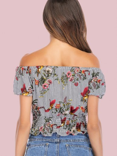 OneBling Striped and Floral Print Shirred Hem Puff Sleeve Off Shoulder Crop Tops