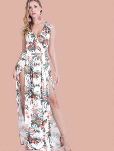 OneBling Leaf Print Tie Back Double Splits Front Sleeveless Maxi Wrap Dress