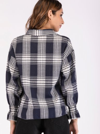Dropped Shoulder Puff Sleeve Check Shirt