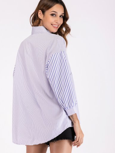 Dropped Shoulder Contrast Sleeve Pinstripe High Low Shirt