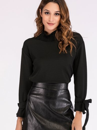 OneBling High Neck Tie Sleeve Drop Shoulder T-Shirt