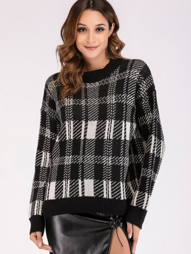 OneBling Dropped Shoulder Contrast Trim Knit Jumper In Check