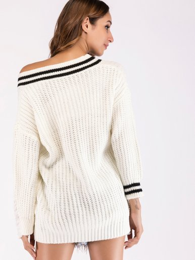 OneBling Distressed Textured Knit Dropped Shoulder Jumper with Tipping and Patch