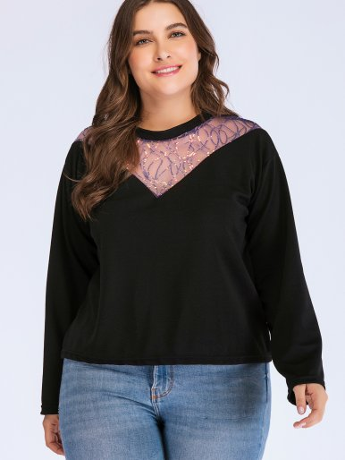 OneBling Plus Size T-Shirt with Sequins Mesh Chevron Insert