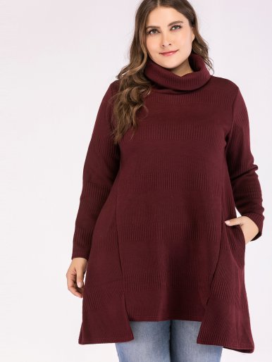 OneBling Plus Size Dip Hem Rolled Neck Textured Striped Jumper with Pockets