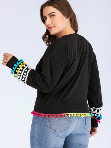 OneBling Plus Size Dropped Shoulder Sweatshirt with Pom Poms