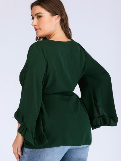Plus Size Bell Sleeve Self Belted Crew Neck T-Shirt with Ruffles