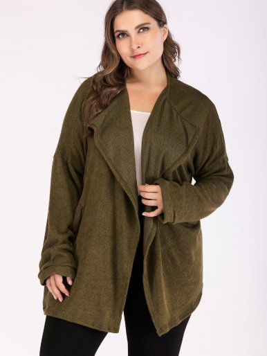 OneBling Plus Size Dropped Shoulder Draped Collar Knit Cardigan