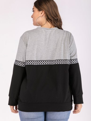 OneBling Plus Size Two Tone Sweatshirt with Check Tape