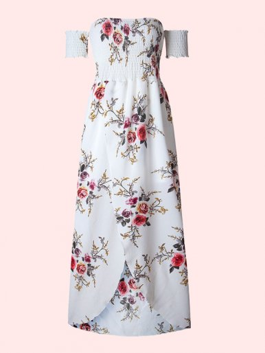 OneBling Off Shoulder Floral Front Split Maxi Dress