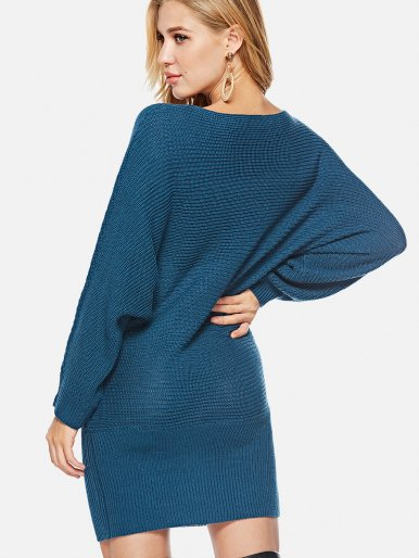 OneBling Boat Neck Batwing Sleeve Knit Jumper
