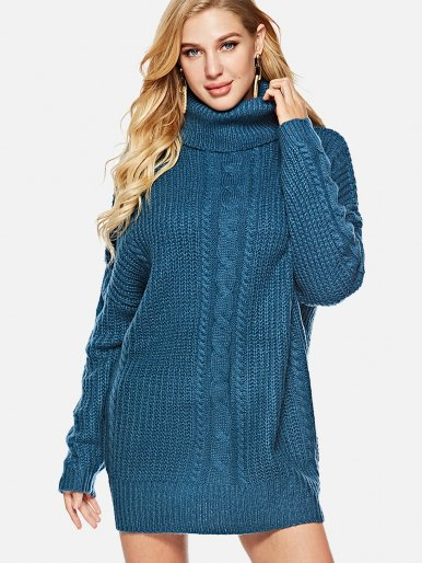 OneBling Roll Neck Chunky Knit Jumper with Shoulder Detail
