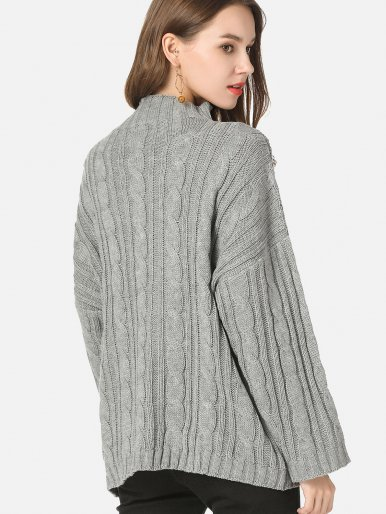 OneBling High Neck Dropped Shoulder Cable Knit Jumper