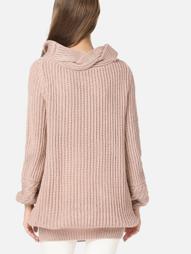 OneBling Chunky Knit Long Jumper with Contrast Collar and Cuff